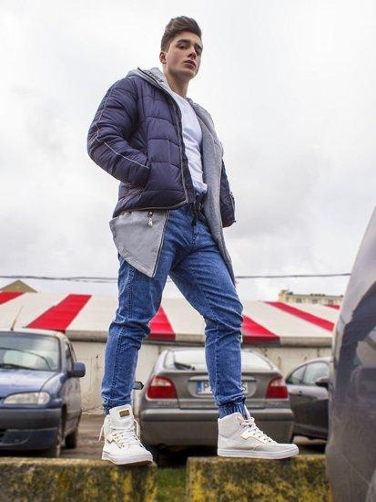Stylizace č. 88 - zimní bunda, mikina s kapucí, tričko, džíny, tenisky
