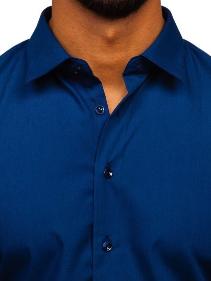 Tmavě modrá pánská elegantní košile s dlouhým rukávem Bolf 0001
