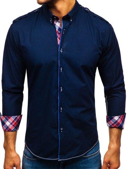 Tmavě modrá pánská elegantní košile s dlouhým rukávem Bolf 1758
