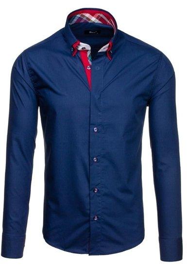 Tmavě modrá pánská elegantní košile s dlouhým rukávem Bolf 6895