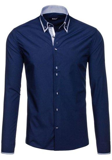 Tmavě modrá pánská elegantní košile s dlouhým rukávem Bolf 6929