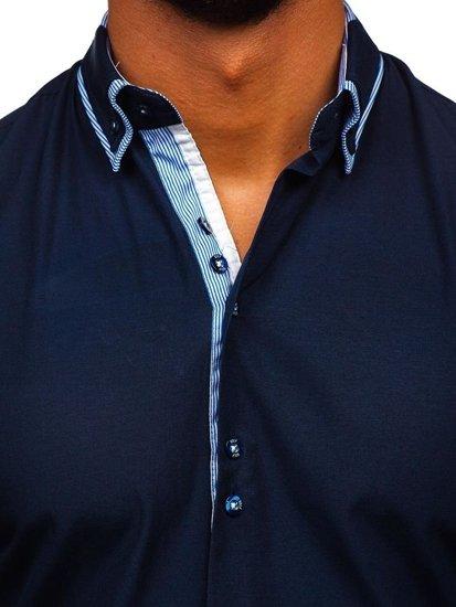 Tmavě modrá pánská elegantní košile s dlouhým rukávem Bolf  6929-A