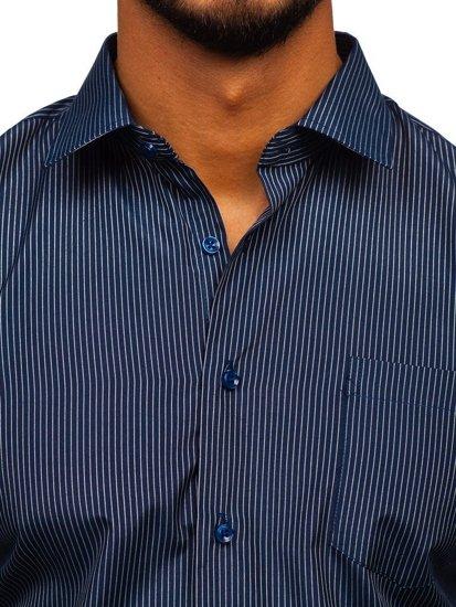 Tmavě modrá pánská elegantní proužkovaná košile s dlouhým rukávem Bolf NDT10