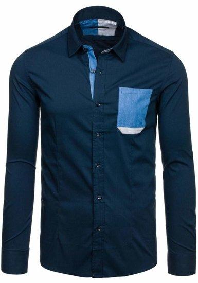 Tmavě modrá pánská košile Bolf 7192