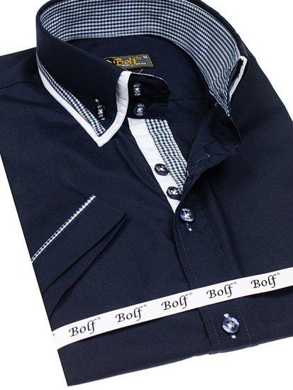Tmavě modrá pánská košile s krátkým rukávem Bolf 3520