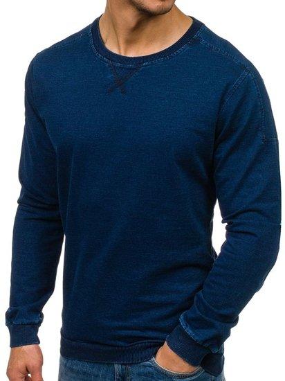 Tmavě modrá pánská mikina bez kapuce Bolf 2701