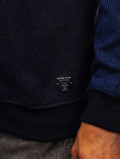 Tmavě modrá pánská mikina bez kapuce Bolf 3671