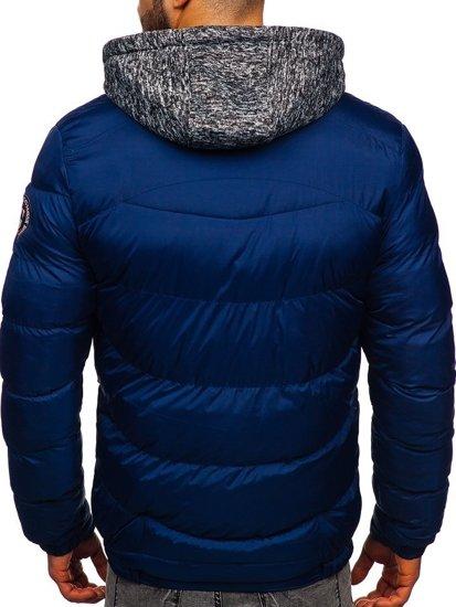 Tmavě modrá pánská prošívaná sportovní zimní bunda Bolf 50A155