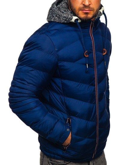 Tmavě modrá pánská prošívaná sportovní zimní bunda Bolf 50A163