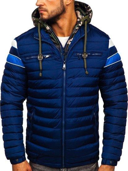Tmavě modrá pánská prošívaná sportovní zimní bunda Bolf 50A465