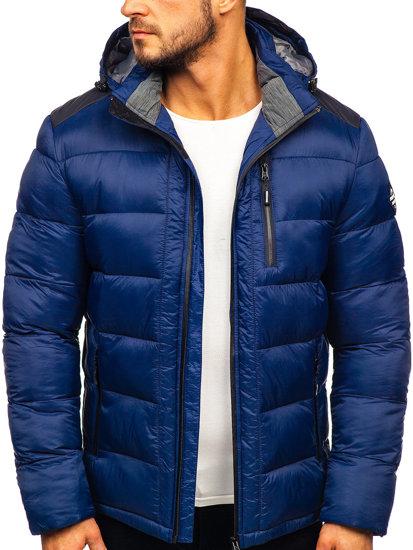 Tmavě modrá pánská prošívaná sportovní zimní bunda Bolf AB98