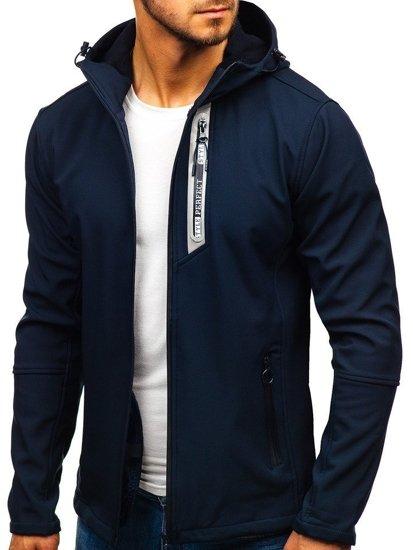 Tmavě modrá pánská softshellová přechodová bunda Bolf 5480-A