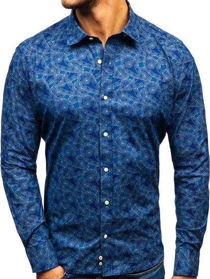 Tmavě modrá pánská vzorovaná košile s dlouhým rukávem Bolf 301G84