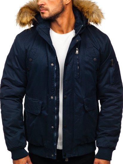 Tmavě modrá pánská zimní bunda Bolf 1778