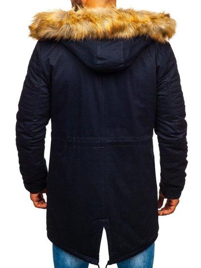 Tmavě modrá pánská zimní parka Bolf JK390