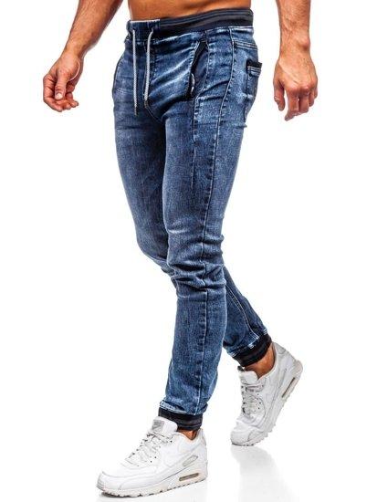 Tmavě modré pánské džínové jogger kalhoty Bolf KA688