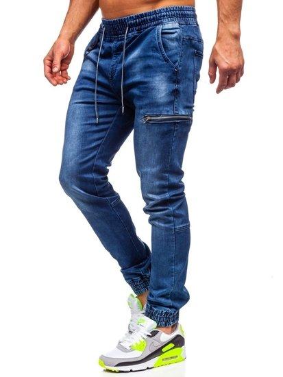 Tmavě modré pánské džínové jogger kalhoty Bolf KA735
