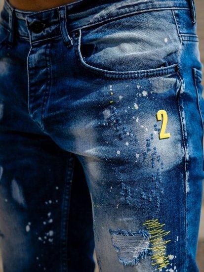 Tmavě modré pánské džínové kraťasy Bolf 3006