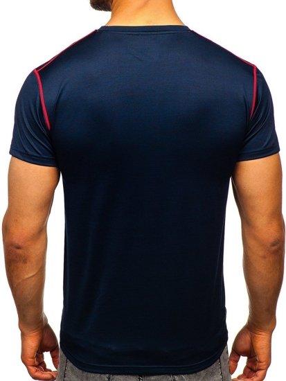 Tmavě modré pánské sportovní tričko bez potisku Bolf KS2104