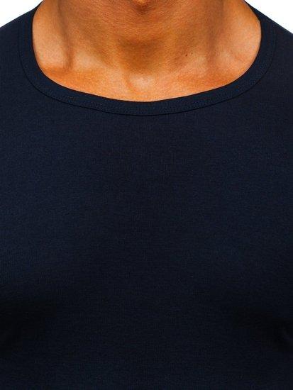 Tmavě modré pánské tričko bez potisku Bolf NB003