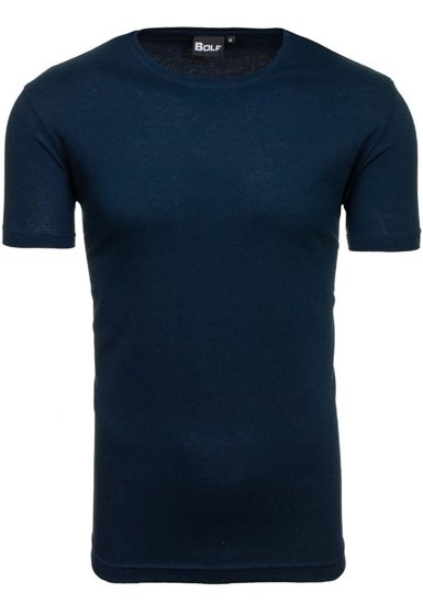 Tmavě modré pánské tričko bez potisku Bolf T30