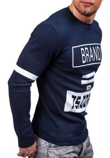 Tmavě modré pánské tričko s dlouhým rukávem a potiskem Bolf 4246