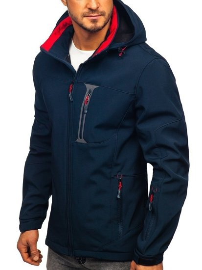 Tmavě modro-červená pánská softshellová bunda Bolf 12262
