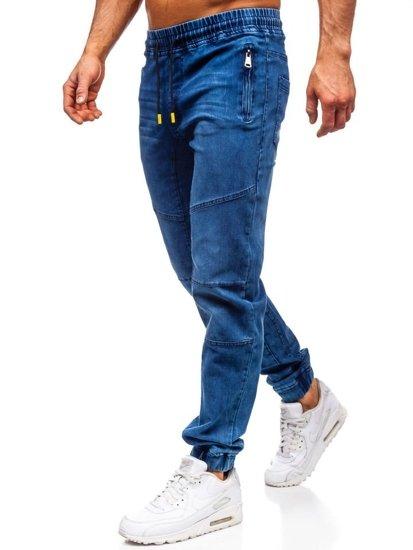 Tmavě modro-žluté pánské džínové jogger kalhoty Bolf HY350
