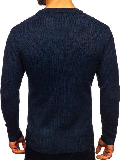 Tmavě modrý pánský svetr Bolf H1937
