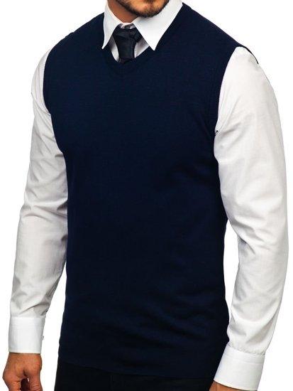 Tmavě modrý pánský svetr bez rukávů Bolf 2500