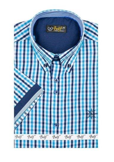 Tyrkysová pánská kostkovaná košile s krátkým rukávem Bolf 4510