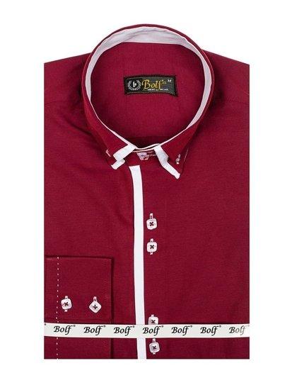 Vínová pánská elegantní košile s dlouhým rukávem Bolf 1721-A