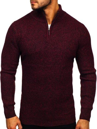 Vínový pánský svetr s vysokým límcem Bolf H1936