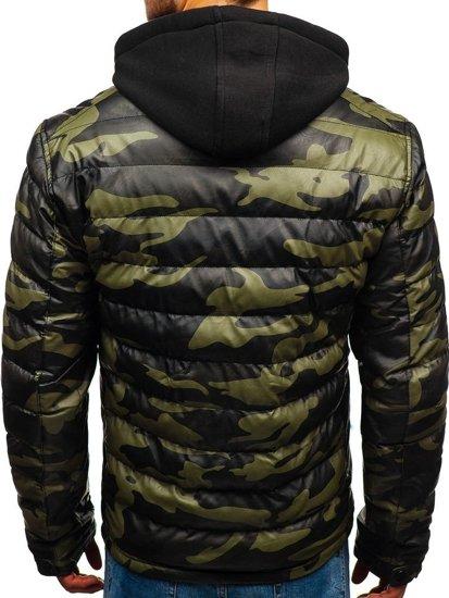 Zelená pánská koženková zimní bunda Bolf 4695