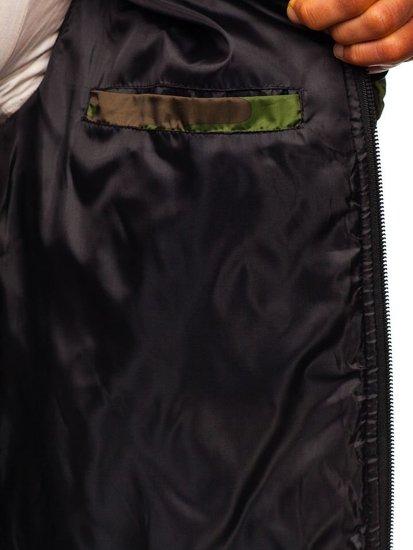 Zelená pánská maskáčová sportovní přechodová bunda Bolf MY21M