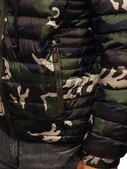 Zelená pánská prošívaná sportovní zimní bunda Bolf 50A469