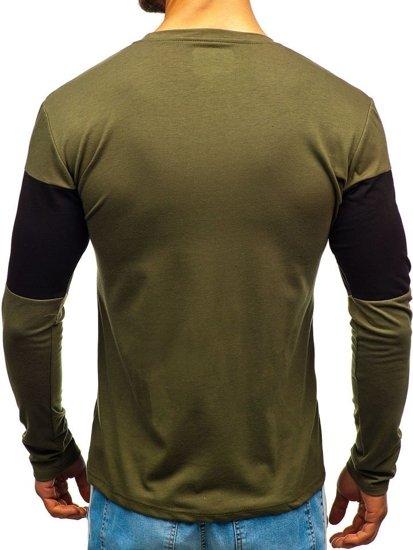 Zelené pánské tričko s dlouhým rukávem s potiskem Bolf XXS1090