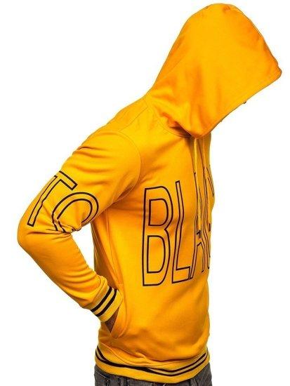 Žlutá pánská mikina s kapucí a potiskem Bolf 8917