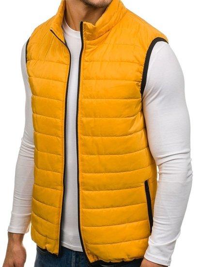 Žlutá pánská prošívaná vesta bez kapuce Bolf AK89