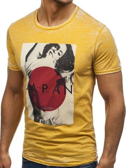 Žluté pánské tričko s potiskem Bolf 7646