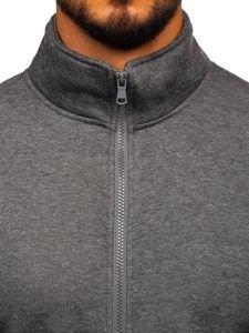 Antracitová pánská mikina na zip bez kapuce Bolf B002