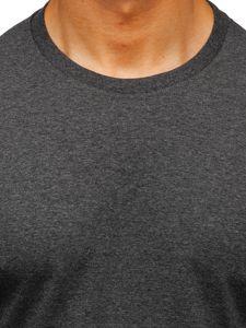 Antracitové pánské tričko s dlouhým rukávem bez potisku Bolf 1209