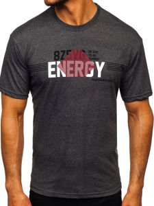 Antracitové pánské tričko s potiskem Bolf 14333