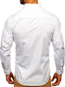 Bílá pánská elegantní košile s dlouhým rukávem Bolf 0001