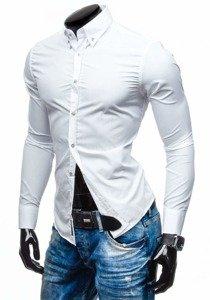 Bílá pánská elegantní košile s dlouhým rukávem Bolf 5821