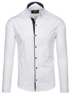 Bílá pánská elegantní košile s dlouhým rukávem Bolf 7714