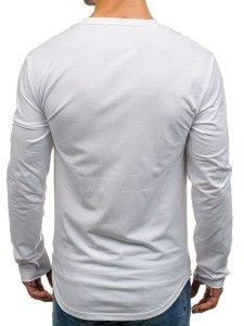 Bílé pánské tričko s dlouhým rukávem a potiskem Bolf SX03
