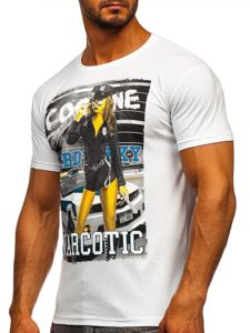 Bílé pánské tričko s potiskem Bolf 004
