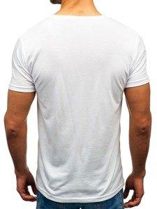 Bílé pánské tričko s potiskem Bolf 10820