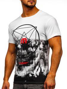 Bílé pánské tričko s potiskem Bolf 10887